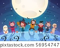 Happy halloween background. Monsters and kids in costumes. Halloween party poster or invitation 56954747