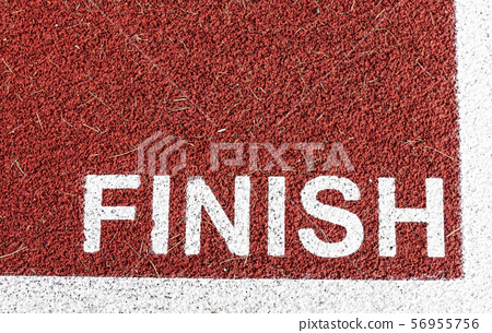 FINISH painted on a red track in white 56955756