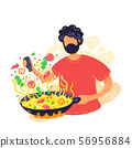 Young man coocking noodles in wok frying pan 56956884