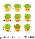Cute happy smiling plant set collection.  56957468
