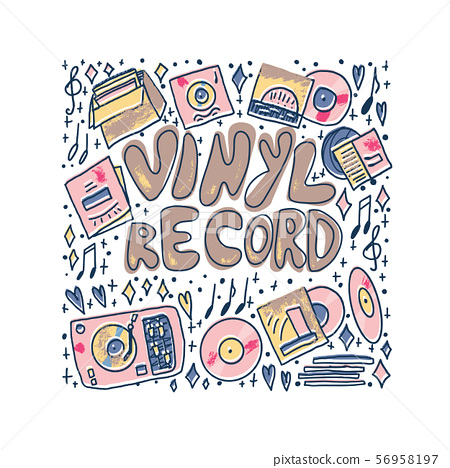 Vinyl record concept. Vector color text template. 56958197