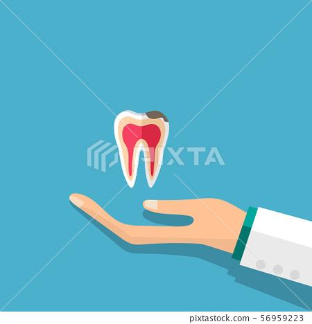 Dentist holds a tooth. Dental concept. Dentist background. Vector illustration. 56959223