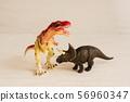 carnivorous dinosaur tyrannosaurus rex in battle 56960347