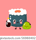 Cute happy smiling sushi,roll with soy sauce 56960402