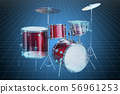 Visualization 3d cad model of drum kit 56961253