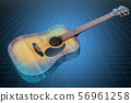 Visualization 3d cad model of acoustic guitar 56961258