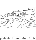 hollywood sign vector illustration sketch doodle 56962137