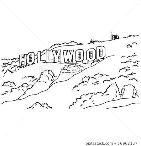 hollywood sign vector illustration sketch doodle 56962137