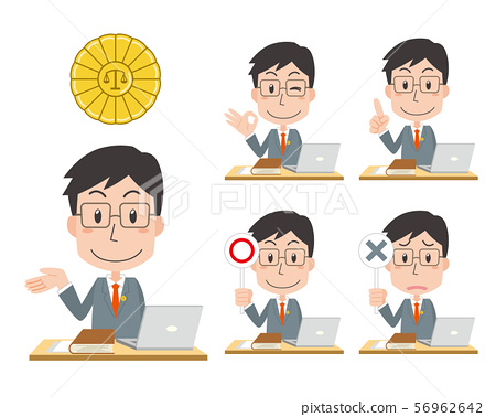 Lawyer male facial expression pose set 56962642