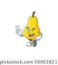 Two finger fruit pear character with mascot cartoon cute 56963821