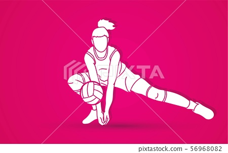 Volleyball player action cartoon graphic vector. 56968082