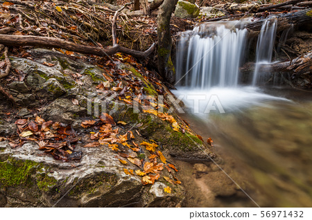 Beautiful autumn landscape with a waterfall in the autumn forest. 56971432