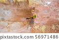 Aerial view excavator working on a construction 56971486