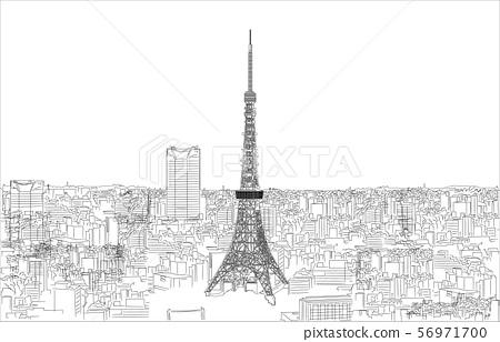 일본의 명소 도쿄 타워 線横 56971700