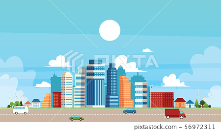 Urban and suburban landscape with buildings and traffic flat vector illustration. 56972311