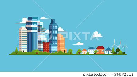 Cityscape with buildings and skyscrapers, small private suburban houses. 56972312