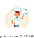 Chef boy holding a food tray with metal cover isolated on white background 56972548