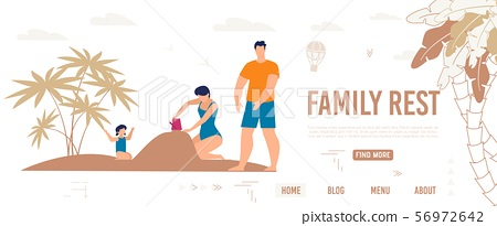 Bright Poster Inscription Family Rest, Cartoon. 56972642
