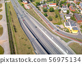 Aerial view of the highway in Gdansk, Poland 56975134