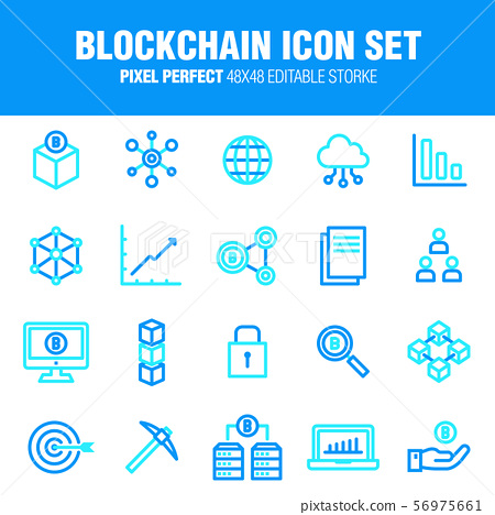 Blockchain icon set - A set of business icons related to the block chain. Editable stroke. 48x48 Pixel Perfect. 56975661