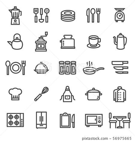 kitchen icon set - A set kitchen icons. editable stroke. 48x48 Pixel Perfect. 56975665
