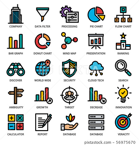 Big Data Analytics Icon Set - editable stroke. 48x48 Pixel Perfect. 56975670