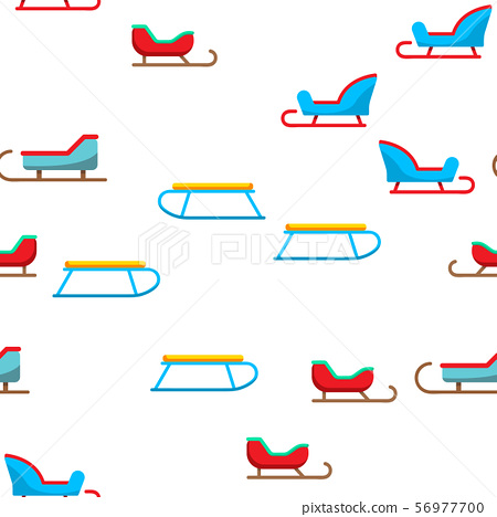 Sled, Winter Activity Vector Seamless Pattern 56977700