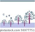 Tree Mori Winter Pop Illustration Message Card Background Bird Cute 56977751