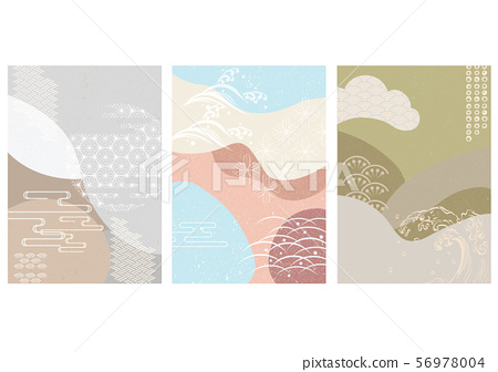 Japanese template with geometric background vector. Japanese icons and pattern. 56978004
