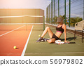 Slim young girl athlete tennis player is on the 56979802