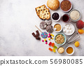Assortment of simple carbohydrates food 56980085