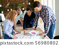 Four casual people discussion new strategy. Start up company 56980802