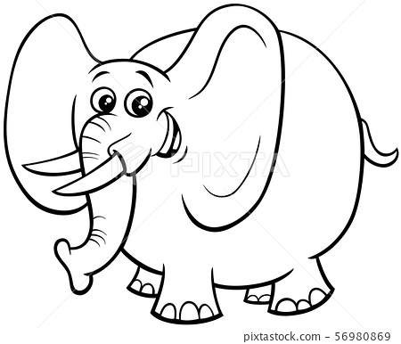 - Cute Elephant Cartoon Character Color Book - Stock Illustration [56980869]  - PIXTA
