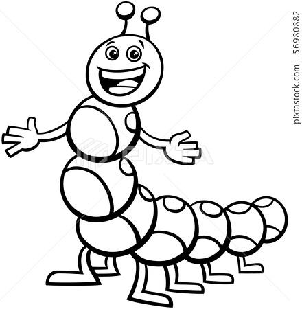 Caterpillar Cartoon Character Coloring Book - Stock Illustration [56980882]  - PIXTA