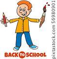 student boy back to school cartoon illustration 56980901
