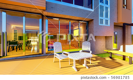 Brand new dream home with front porch 3d rendering 56981785