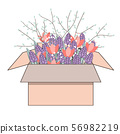 Tulips flowers in the cardboard box. Bouquet of spring doodle hyacinths and tulips, vector 56982219