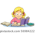 Kid Girl Write Study Illustration 56984222