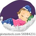 Kid Girl Sleep Bed Illustration 56984231