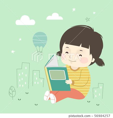 Kid Girl Book Little City Illustration 56984257