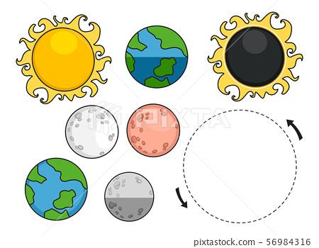 Lunar Eclipse Sun Moon Earth Elements Illustration 56984316
