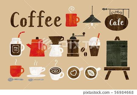 咖啡和咖啡館水彩 56984668