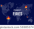 Breaking News bushfires Poster concept. Fires places on world map, forest fires centres. Banner 56985074