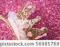 Pink and gold princess crown headband macro 56985769