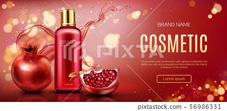 Pomegranate Cosmetic Bottle Mock Up Beauty Banner Stock Illustration 56986331 Pixta