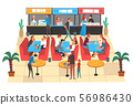 People Eating in Food Court in Shopping Mall, People Buying Fast Food and Drinks Vector Illustration 56986430