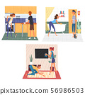 Husband and Wife Doing Housework Together Set, Family Cleaning Home on Weekend Vector Illustration 56986503
