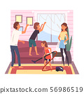 Father, Mother and Their Children Cleaning Room Together, Girl Vacuuming the Floor, Boy Washing 56986519