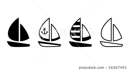 boat vector icon yacht logo symbol Anchor pirate maritime Nautical sea ocean doodle character cartoon illustration doodle design 56987493