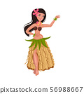 Girl in a traditional Hawaiian costume. Vector illustration on a white background. 56988667